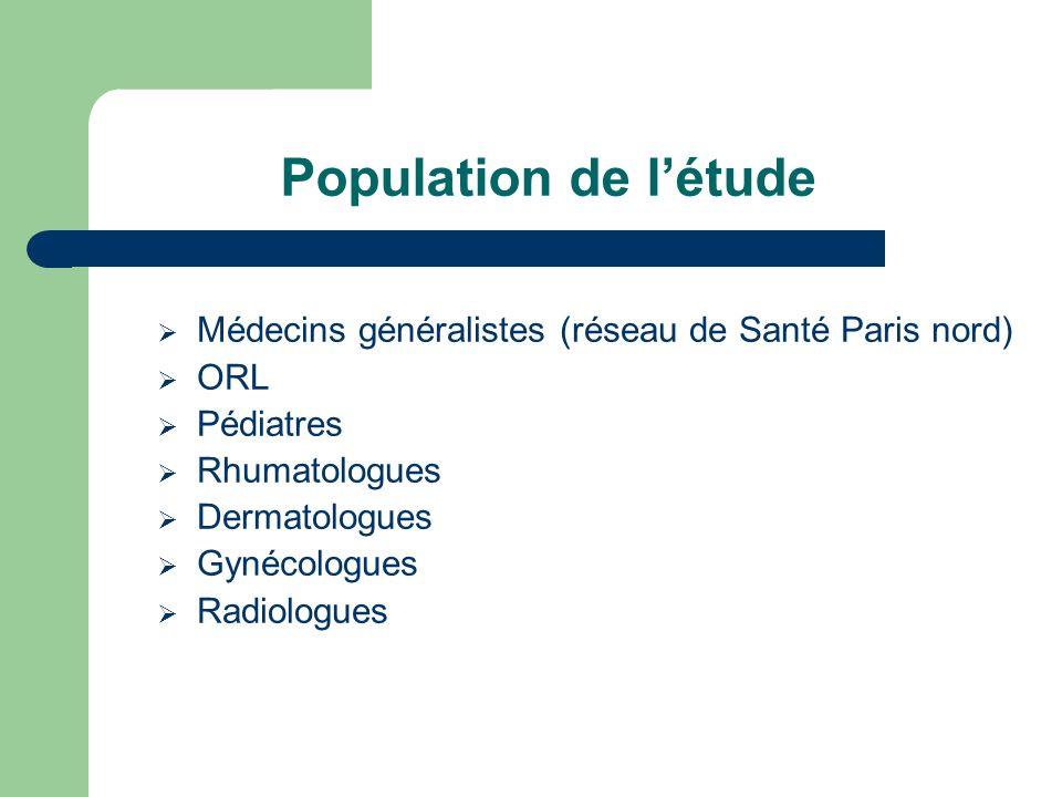 Population de létude Médecins généralistes (réseau de Santé Paris nord) ORL Pédiatres Rhumatologues Dermatologues Gynécologues Radiologues