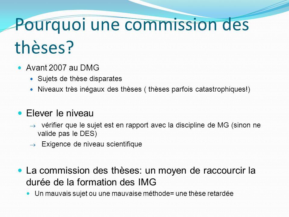 Pourquoi une commission des thèses? Avant 2007 au DMG Sujets de thèse disparates Niveaux très inégaux des thèses ( thèses parfois catastrophiques!) El