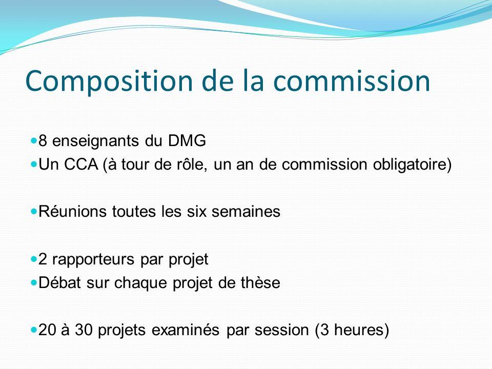 Composition de la commission 8 enseignants du DMG Un CCA (à tour de rôle, un an de commission obligatoire) Réunions toutes les six semaines 2 rapporte