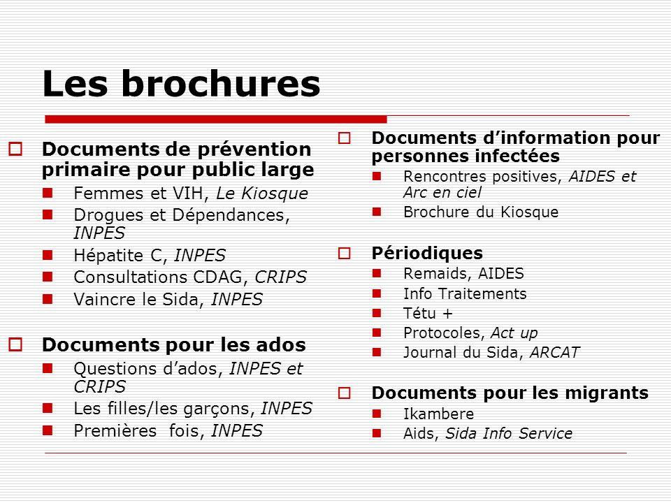 Les brochures Documents de prévention primaire pour public large Femmes et VIH, Le Kiosque Drogues et Dépendances, INPES Hépatite C, INPES Consultatio