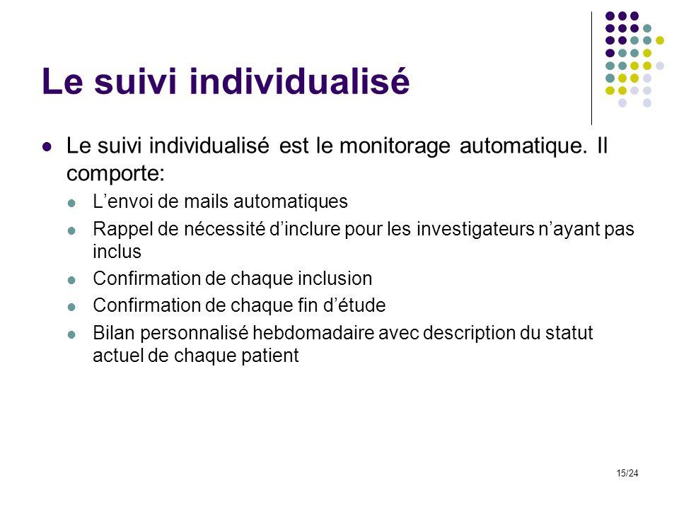 Le suivi individualisé Le suivi individualisé est le monitorage automatique.