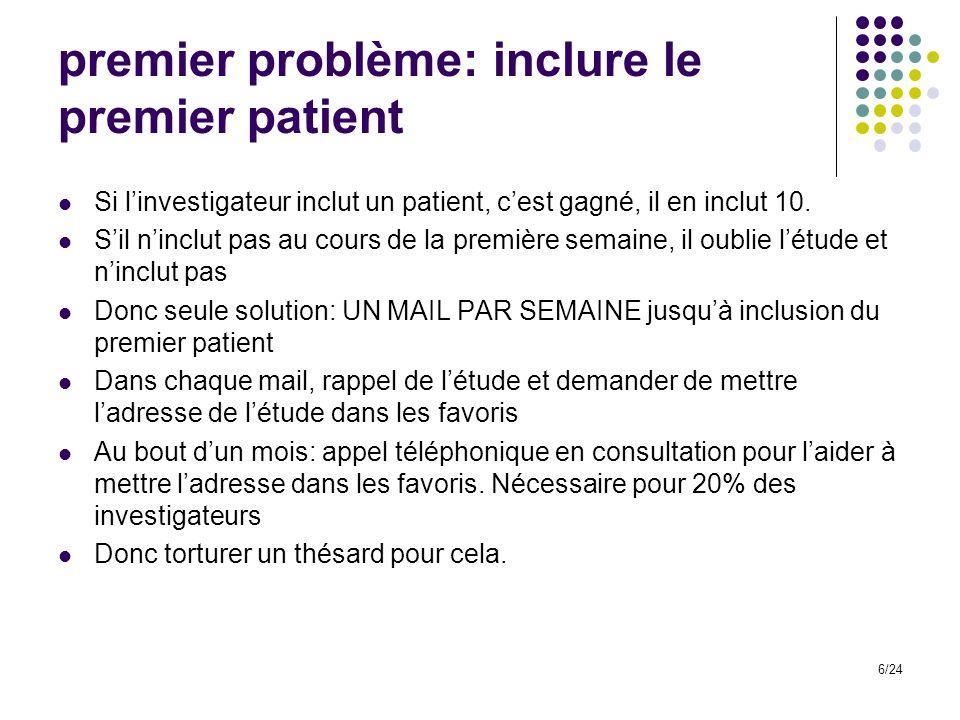 premier problème: inclure le premier patient Si linvestigateur inclut un patient, cest gagné, il en inclut 10.