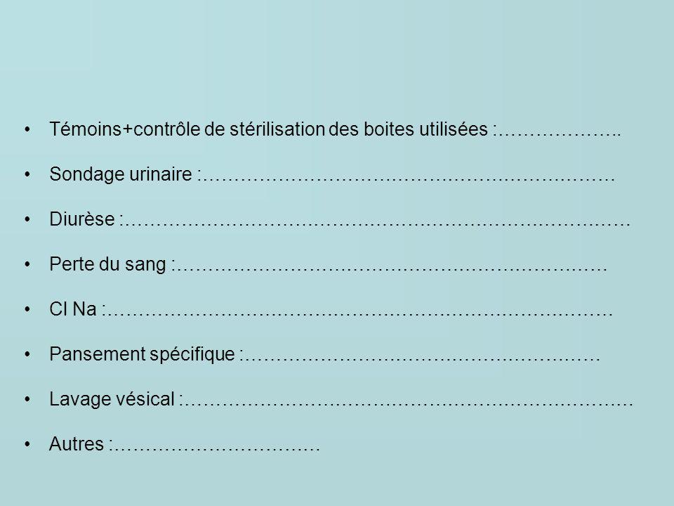 Témoins+contrôle de stérilisation des boites utilisées :……………….. Sondage urinaire :………………………………………………………… Diurèse :……………………………………………………………………… Perte d