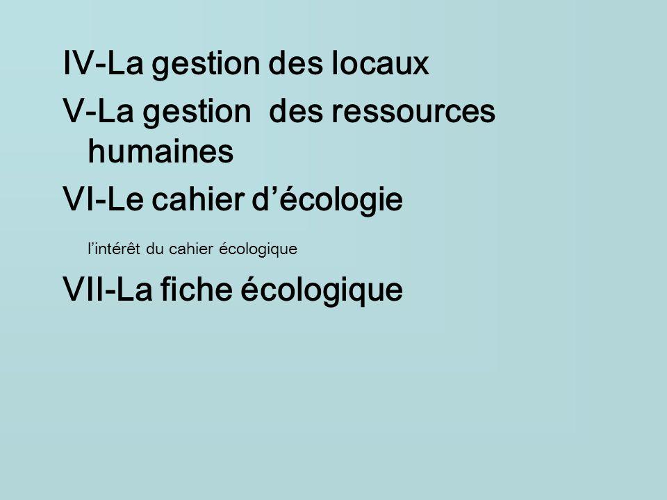 IV-La gestion des locaux V-La gestion des ressources humaines VI-Le cahier décologie lintérêt du cahier écologique VII-La fiche écologique