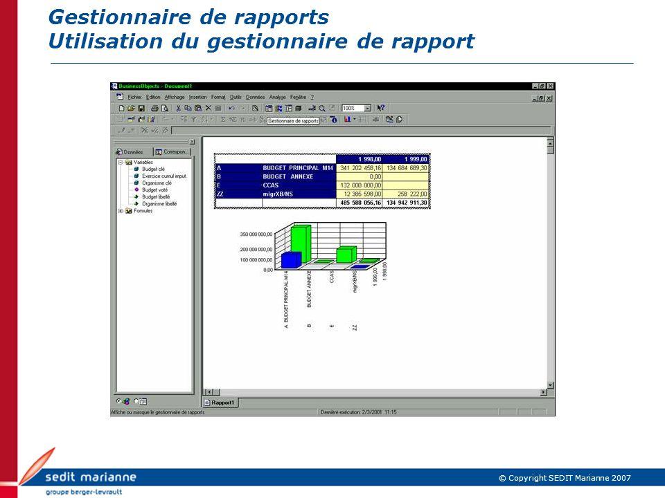 © Copyright SEDIT Marianne 2007 Gestionnaire de rapports Utilisation du gestionnaire de rapport