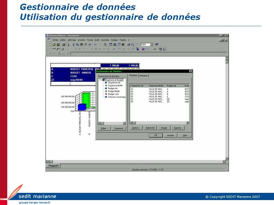 © Copyright SEDIT Marianne 2007 Gestionnaire de données Utilisation du gestionnaire de données