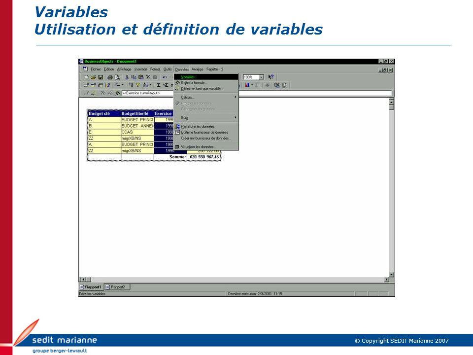 © Copyright SEDIT Marianne 2007 Variables Utilisation et définition de variables