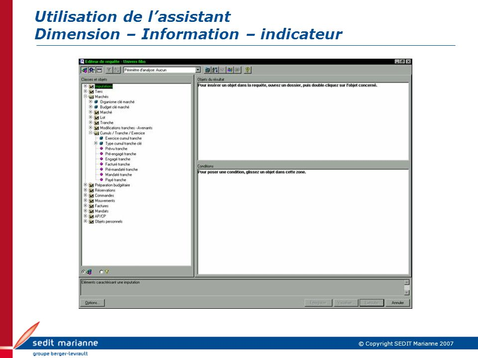 Utilisation de lassistant Dimension – Information – indicateur