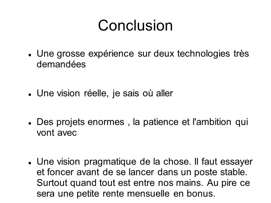 Conclusion Une grosse expérience sur deux technologies très demandées Une vision réelle, je sais où aller Des projets enormes, la patience et l'ambiti