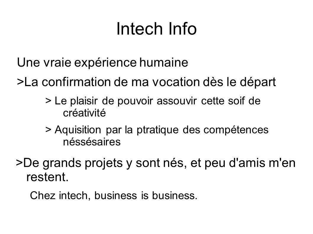 Intech Info Une vraie expérience humaine >La confirmation de ma vocation dès le départ > Le plaisir de pouvoir assouvir cette soif de créativité > Aqu