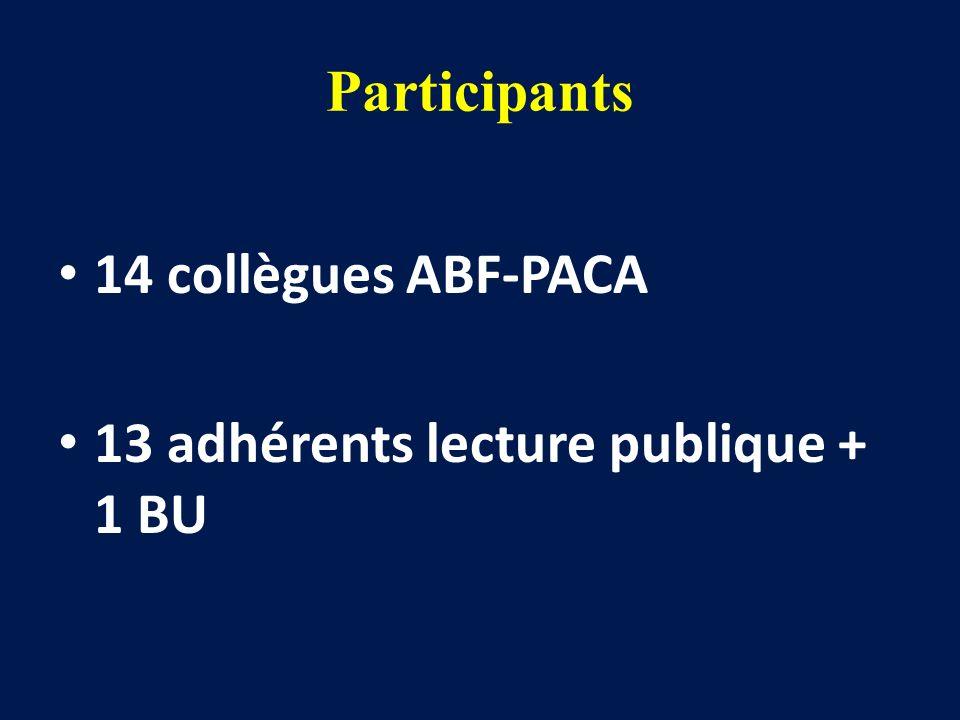 Participants 14 collègues ABF-PACA 13 adhérents lecture publique + 1 BU