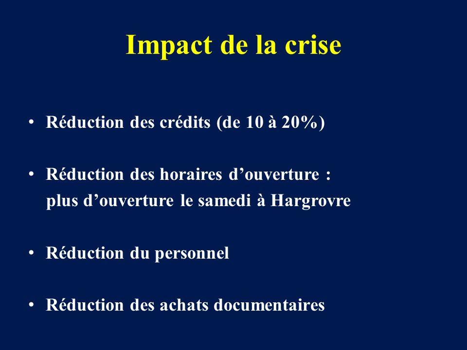 Impact de la crise Réduction des crédits (de 10 à 20%) Réduction des horaires douverture : plus douverture le samedi à Hargrovre Réduction du personne