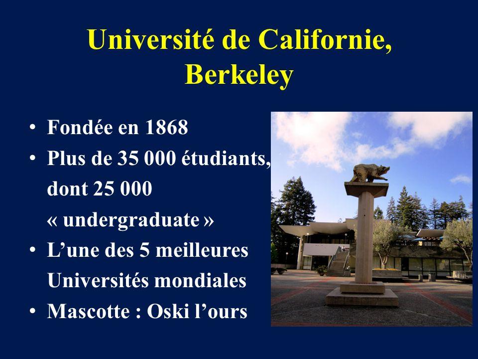 Université de Californie, Berkeley Fondée en 1868 Plus de 35 000 étudiants, dont 25 000 « undergraduate » Lune des 5 meilleures Universités mondiales