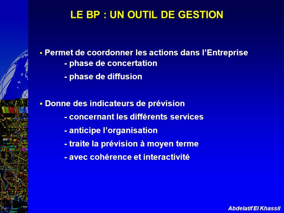 Abdelatif El Khassil LE BP : UN OUTIL DE GESTION Permet de coordonner les actions dans lEntreprise - phase de concertation - phase de diffusion Donne
