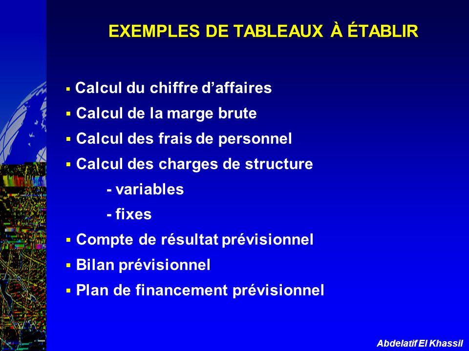 Abdelatif El Khassil EXEMPLES DE TABLEAUX À ÉTABLIR Calcul du chiffre daffaires Calcul de la marge brute Calcul des frais de personnel Calcul des char