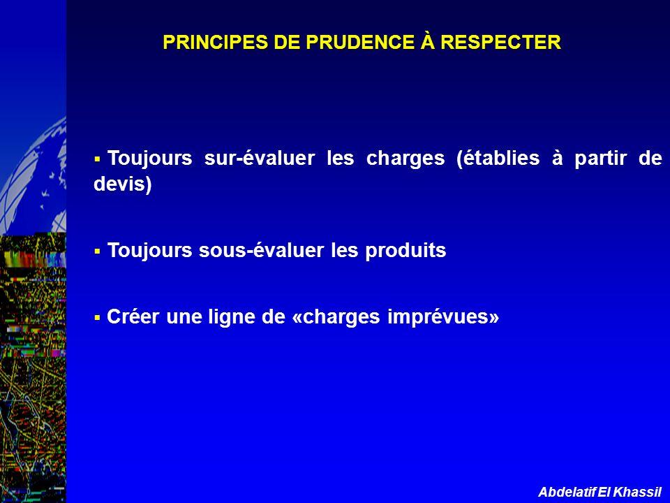 Abdelatif El Khassil PRINCIPES DE PRUDENCE À RESPECTER Toujours sur-évaluer les charges (établies à partir de devis) Toujours sous-évaluer les produit