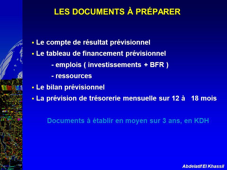 Abdelatif El Khassil LES DOCUMENTS À PRÉPARER Le compte de résultat prévisionnel Le tableau de financement prévisionnel - emplois ( investissements +