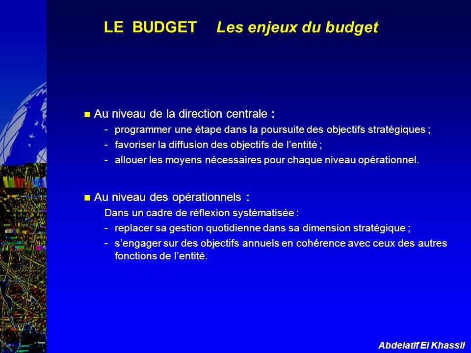 Abdelatif El Khassil LE BUDGET Les enjeux du budget Au niveau de la direction centrale : -programmer une étape dans la poursuite des objectifs stratég