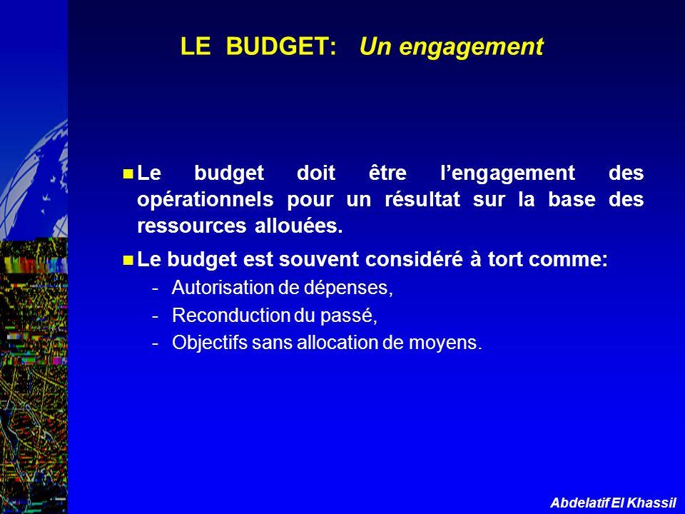 Abdelatif El Khassil LE BUDGET: Un engagement Le budget doit être lengagement des opérationnels pour un résultat sur la base des ressources allouées.