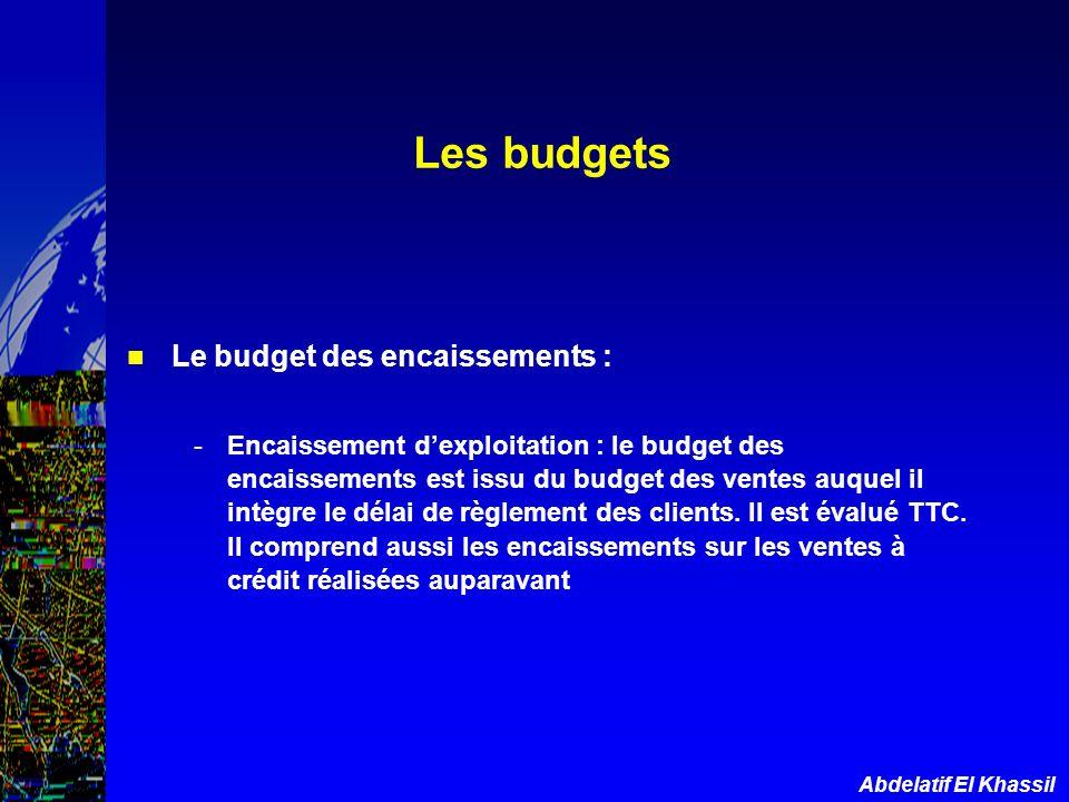 Abdelatif El Khassil Les budgets Le budget des encaissements : -Encaissement dexploitation : le budget des encaissements est issu du budget des ventes
