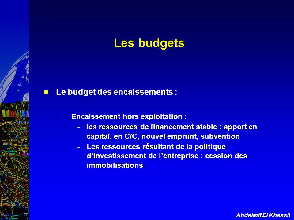 Abdelatif El Khassil Le budget des encaissements : -Encaissement hors exploitation : -les ressources de financement stable : apport en capital, en C/C