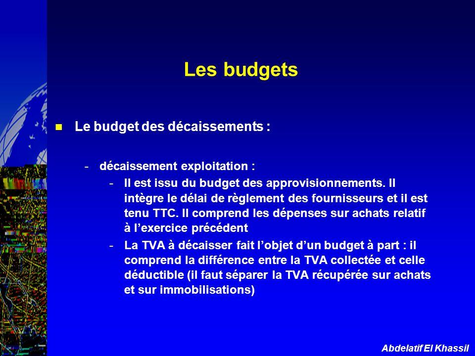 Abdelatif El Khassil Le budget des décaissements : -décaissement exploitation : -Il est issu du budget des approvisionnements. Il intègre le délai de
