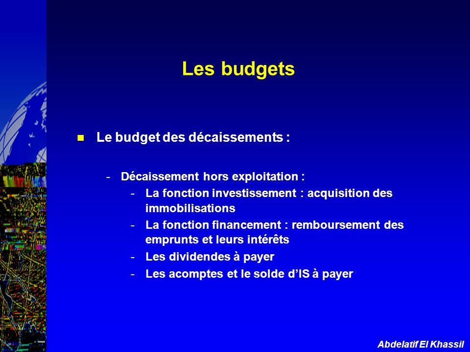 Abdelatif El Khassil Le budget des décaissements : -Décaissement hors exploitation : -La fonction investissement : acquisition des immobilisations -La