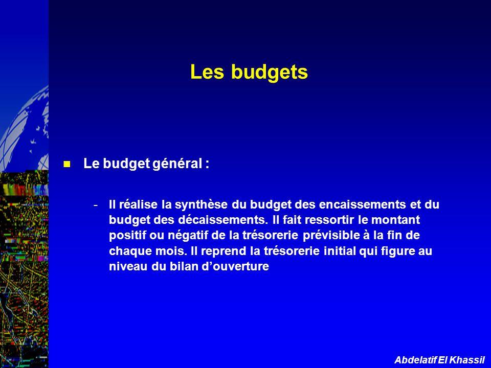 Abdelatif El Khassil Le budget général : -Il réalise la synthèse du budget des encaissements et du budget des décaissements. Il fait ressortir le mont