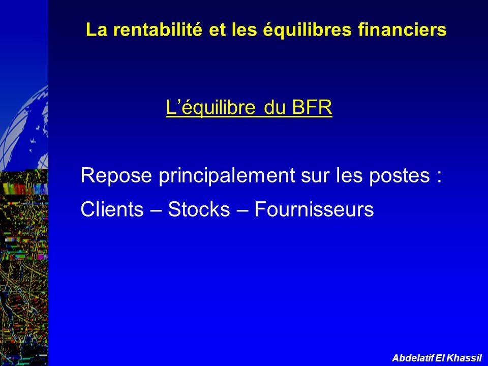 Abdelatif El Khassil Léquilibre du BFR Repose principalement sur les postes : Clients – Stocks – Fournisseurs La rentabilité et les équilibres financi