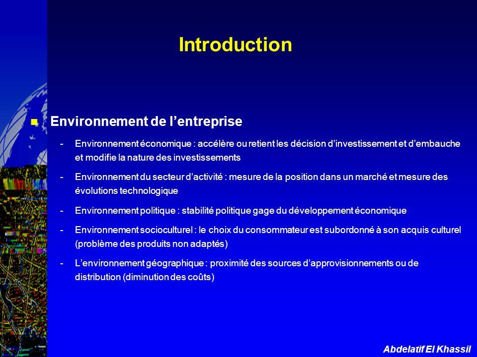 Abdelatif El Khassil Introduction Environnement de lentreprise -Environnement économique : accélère ou retient les décision dinvestissement et dembauc