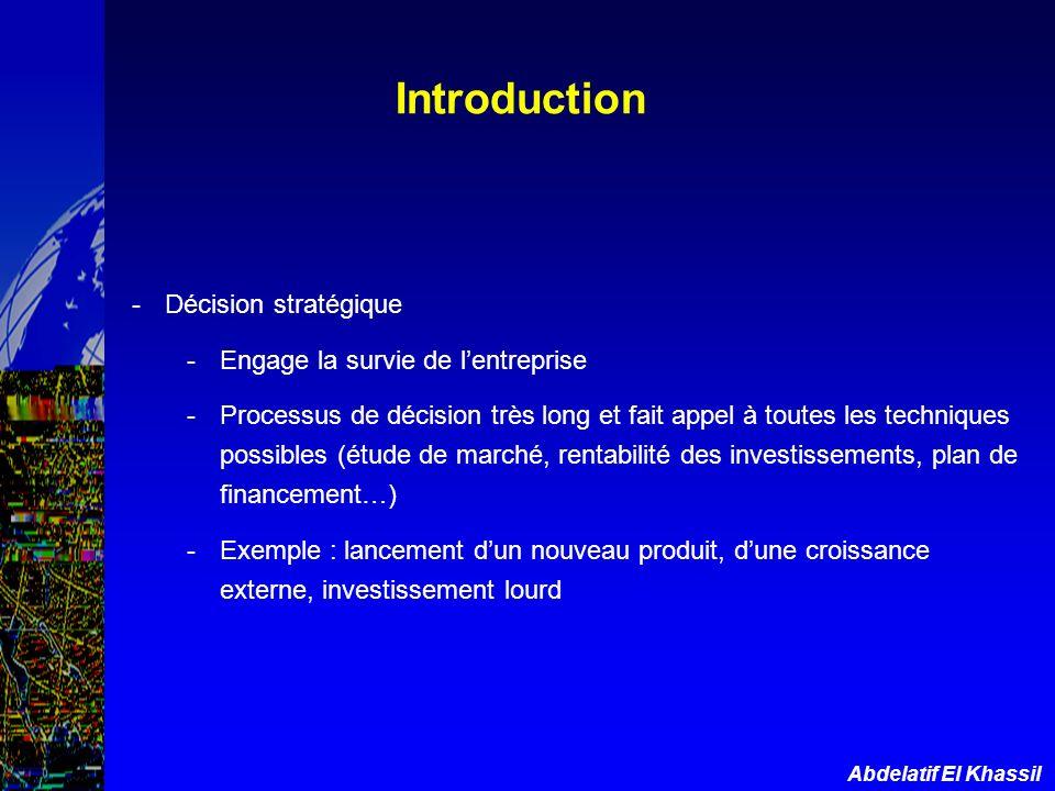 Abdelatif El Khassil Introduction -Décision stratégique -Engage la survie de lentreprise -Processus de décision très long et fait appel à toutes les t