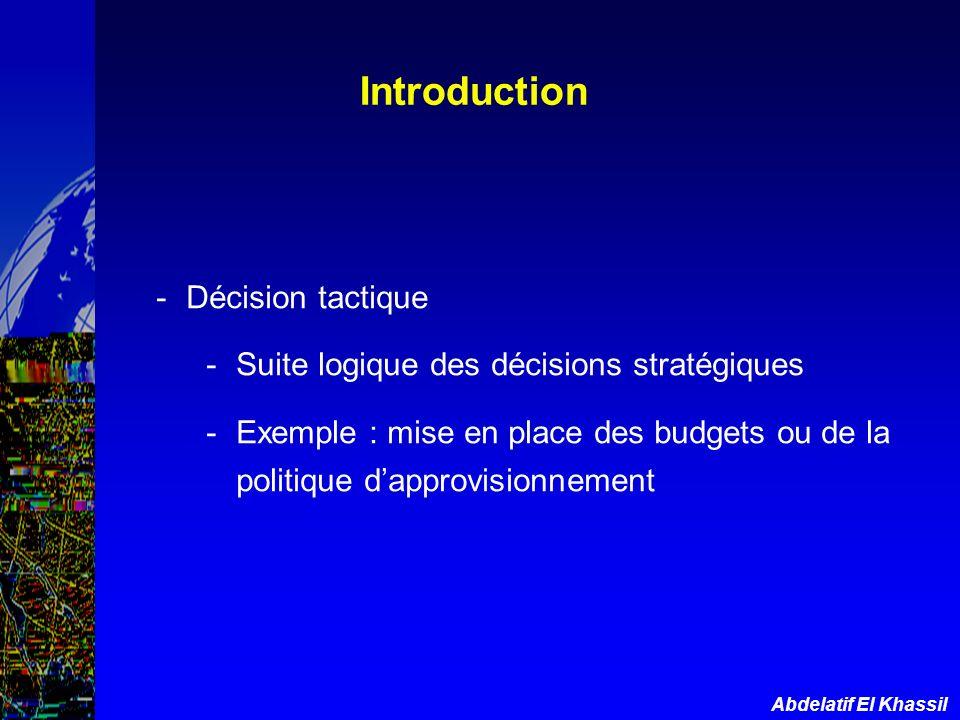 Abdelatif El Khassil Introduction -Décision tactique -Suite logique des décisions stratégiques -Exemple : mise en place des budgets ou de la politique