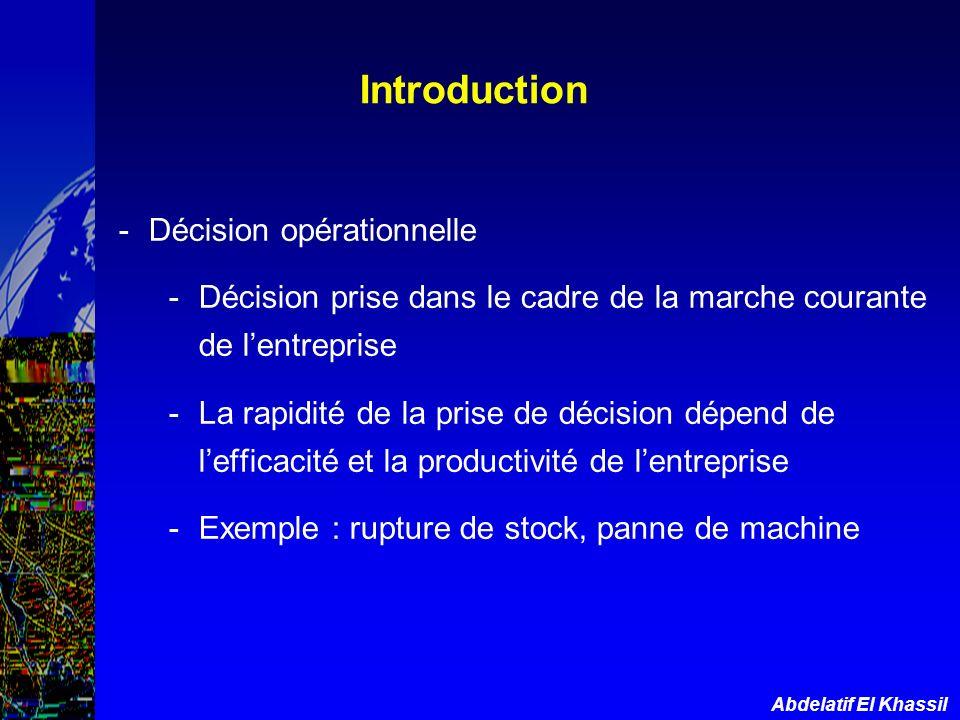 Abdelatif El Khassil -Décision opérationnelle -Décision prise dans le cadre de la marche courante de lentreprise -La rapidité de la prise de décision