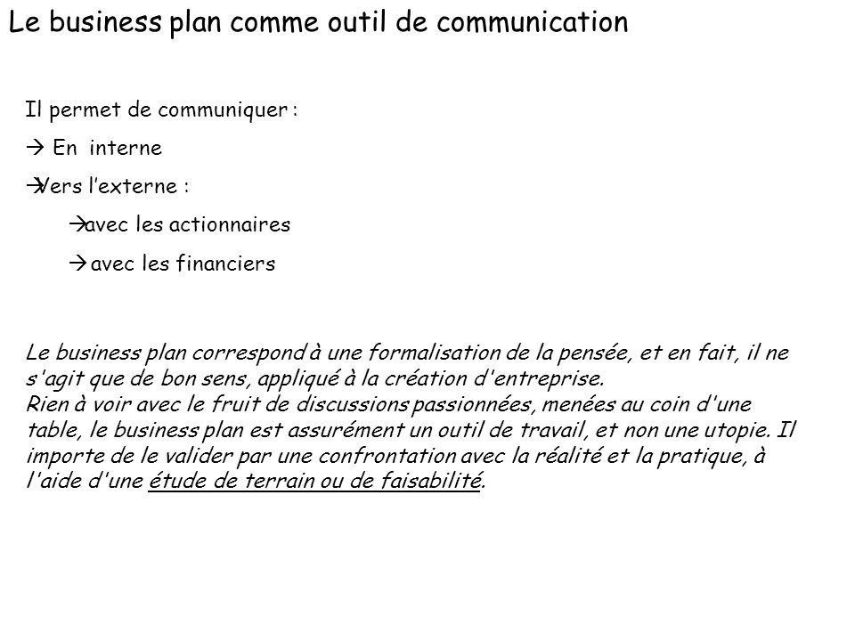 Le business plan comme outil de communication Il permet de communiquer : En interne Vers lexterne : avec les actionnaires avec les financiers Le busin