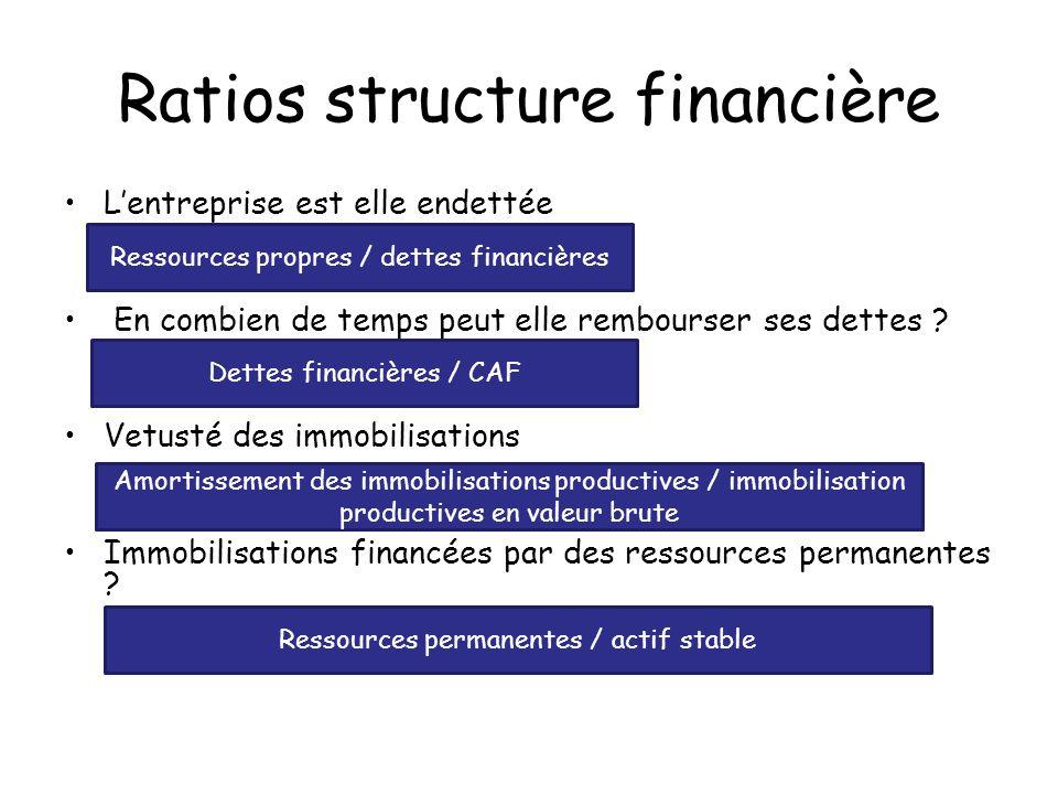 Ratios structure financière Lentreprise est elle endettée En combien de temps peut elle rembourser ses dettes ? Vetusté des immobilisations Immobilisa