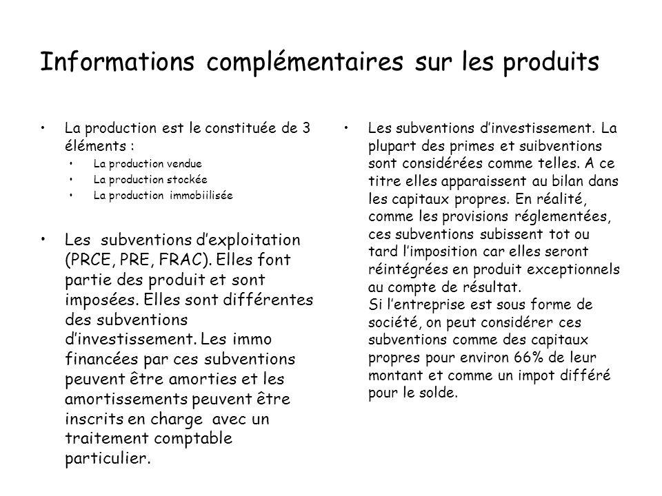 Informations complémentaires sur les produits La production est le constituée de 3 éléments : La production vendue La production stockée La production