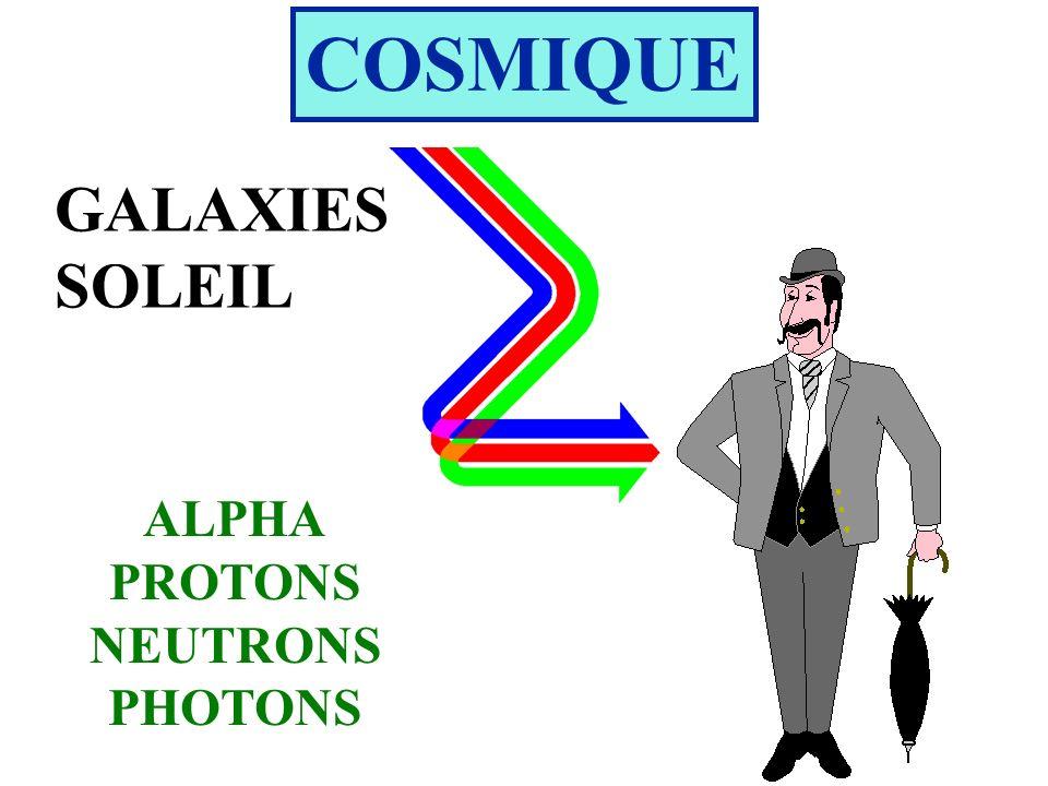 COSMIQUE GALAXIES SOLEIL ALPHA PROTONS NEUTRONS PHOTONS
