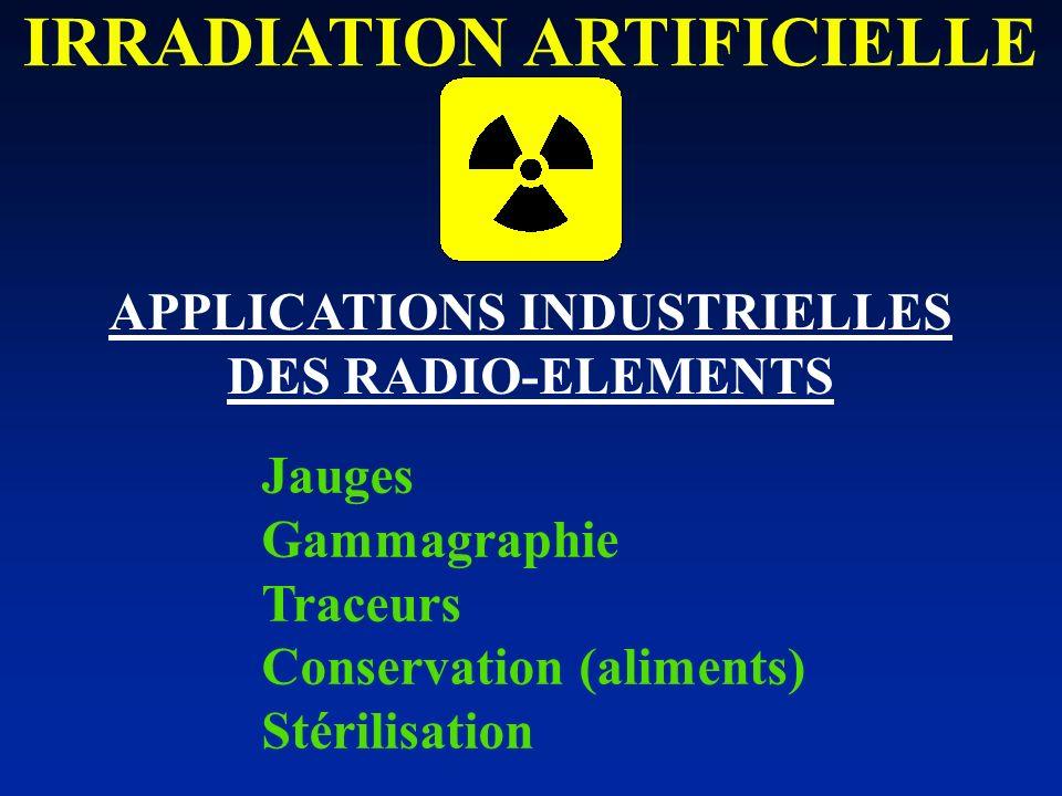 Jauges Gammagraphie Traceurs Conservation (aliments) Stérilisation APPLICATIONS INDUSTRIELLES DES RADIO-ELEMENTS IRRADIATION ARTIFICIELLE