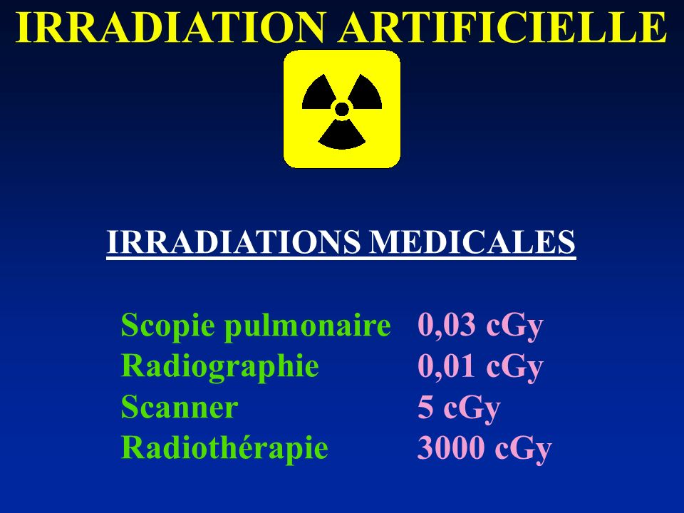 IRRADIATIONS MEDICALES Scopie pulmonaire Radiographie Scanner Radiothérapie 0,03 cGy 0,01 cGy 5 cGy 3000 cGy IRRADIATION ARTIFICIELLE