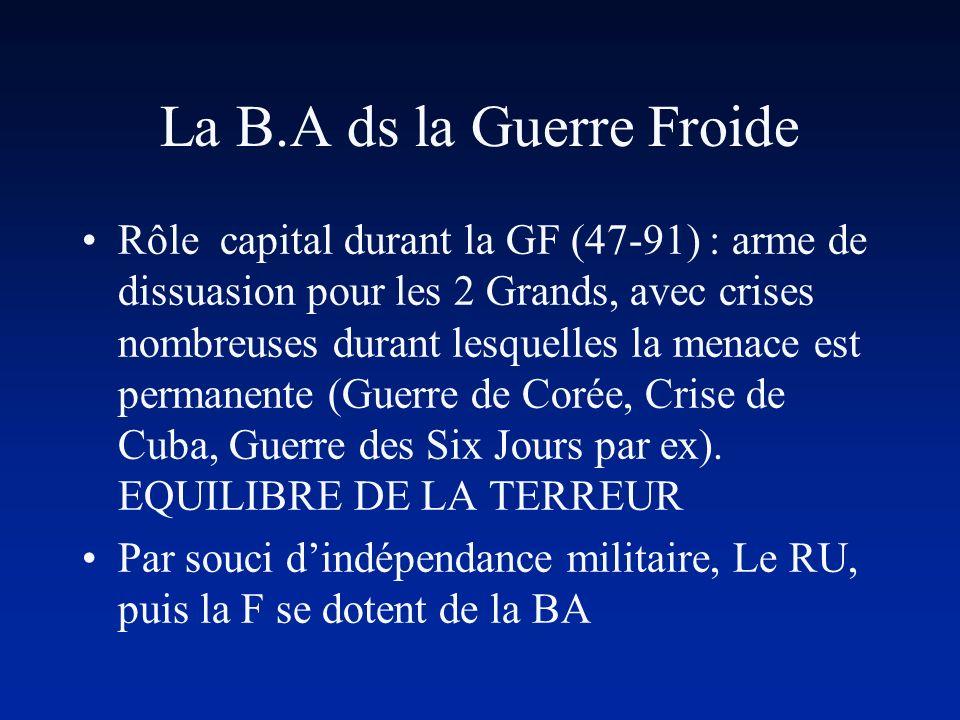 La B.A ds la Guerre Froide Rôle capital durant la GF (47-91) : arme de dissuasion pour les 2 Grands, avec crises nombreuses durant lesquelles la menac