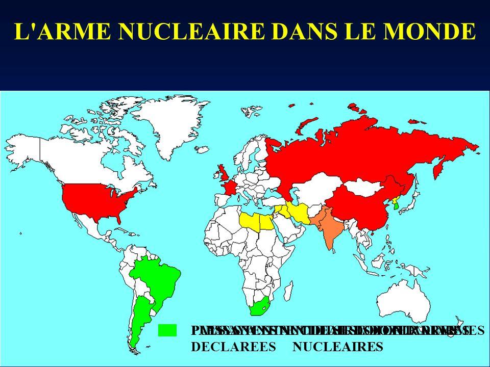 L'ARME NUCLEAIRE DANS LE MONDE PUISSANCES NUCLEAIRES DECLAREESPUISSANCES NUCLEAIRES NON DECLAREES PAYS TENTANT DE SE DOTER D'ARMES NUCLEAIRES PAYS AYA