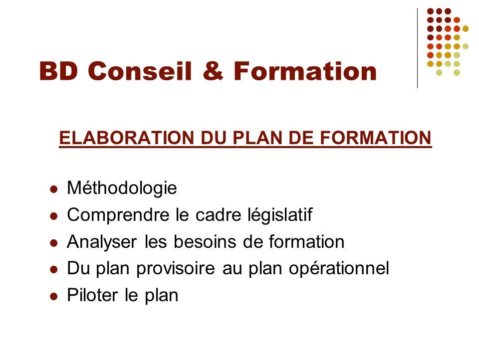 BD Conseil & Formation ELABORATION DU PLAN DE FORMATION Méthodologie Comprendre le cadre législatif Analyser les besoins de formation Du plan provisoi