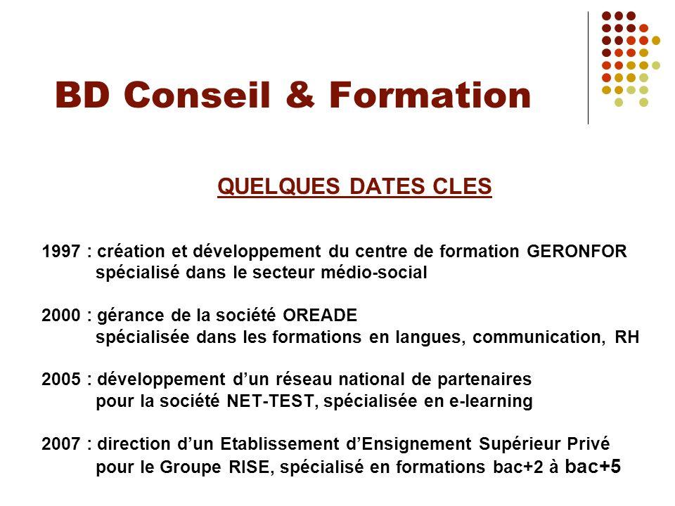 BD Conseil & Formation QUELQUES DATES CLES 1997 : création et développement du centre de formation GERONFOR spécialisé dans le secteur médio-social 20
