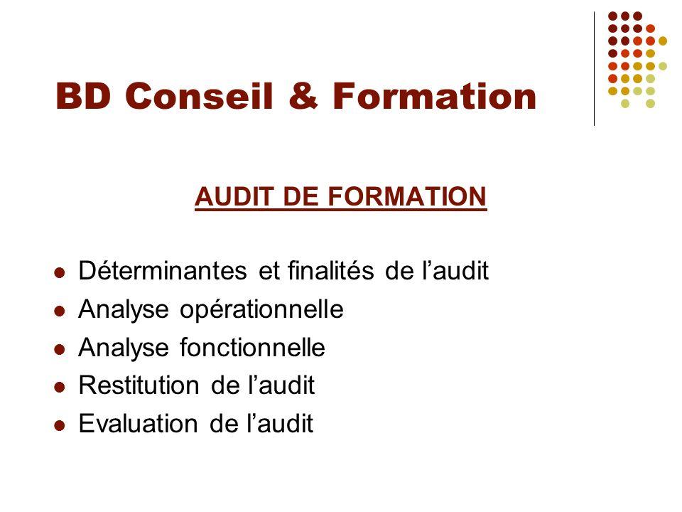 BD Conseil & Formation AUDIT DE FORMATION Déterminantes et finalités de laudit Analyse opérationnelle Analyse fonctionnelle Restitution de laudit Eval