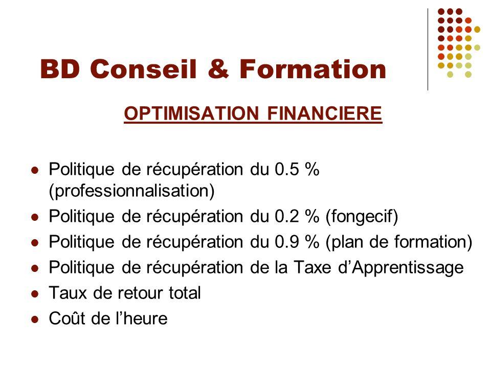 BD Conseil & Formation OPTIMISATION FINANCIERE Politique de récupération du 0.5 % (professionnalisation) Politique de récupération du 0.2 % (fongecif)