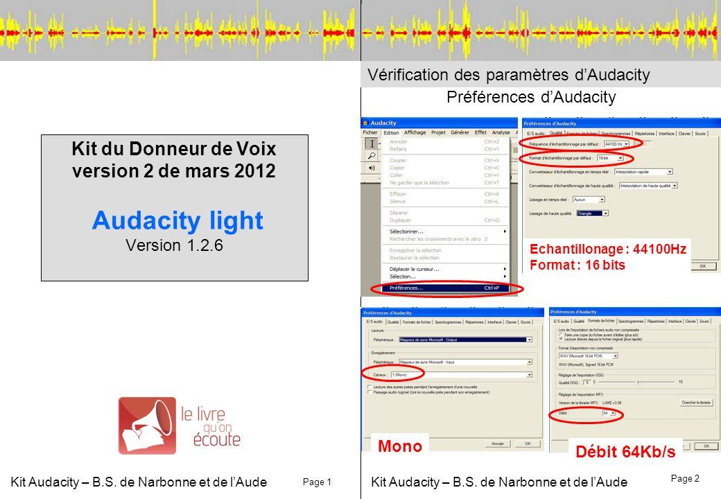 Kit Audacity – B.S. de Narbonne et de lAude Kit du Donneur de Voix version 2 de mars 2012 Audacity light Version 1.2.6 Vérification des paramètres dAu