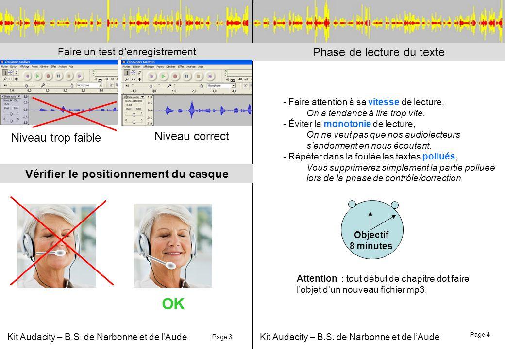 Kit Audacity – B.S. de Narbonne et de lAude Phase de lecture du texte Vérifier le positionnement du casque Faire un test denregistrement Niveau trop f