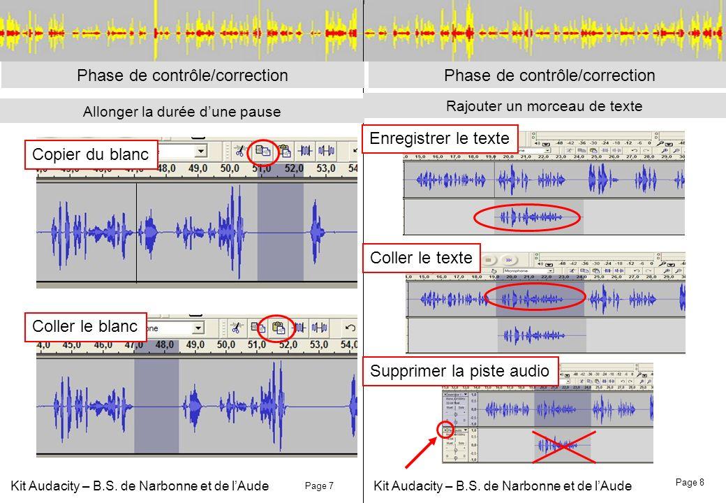 Kit Audacity – B.S. de Narbonne et de lAude Rajouter un morceau de texte Phase de contrôle/correction Allonger la durée dune pause Page 7 Page 8 Phase