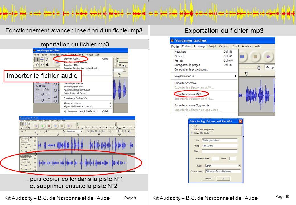 Kit Audacity – B.S. de Narbonne et de lAude Fonctionnement avancé : insertion dun fichier mp3 Importation du fichier mp3 Page 9 Page 10 Exportation du