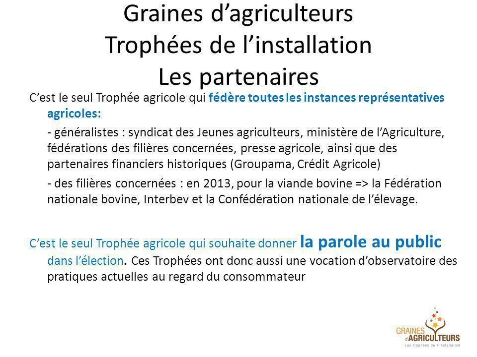 Graines dagriculteurs Trophées de linstallation Les partenaires